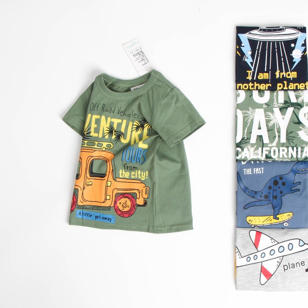 Áo thun bé trai 27 kids chính hãng vải cotton 100%, áo bé trai in hình khủng long, ô tô, máy bay 27KIDS02