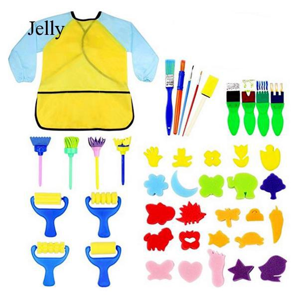 42pcs Mini Painting Sponge Brush Apron Tools for Kids Children School Early J348