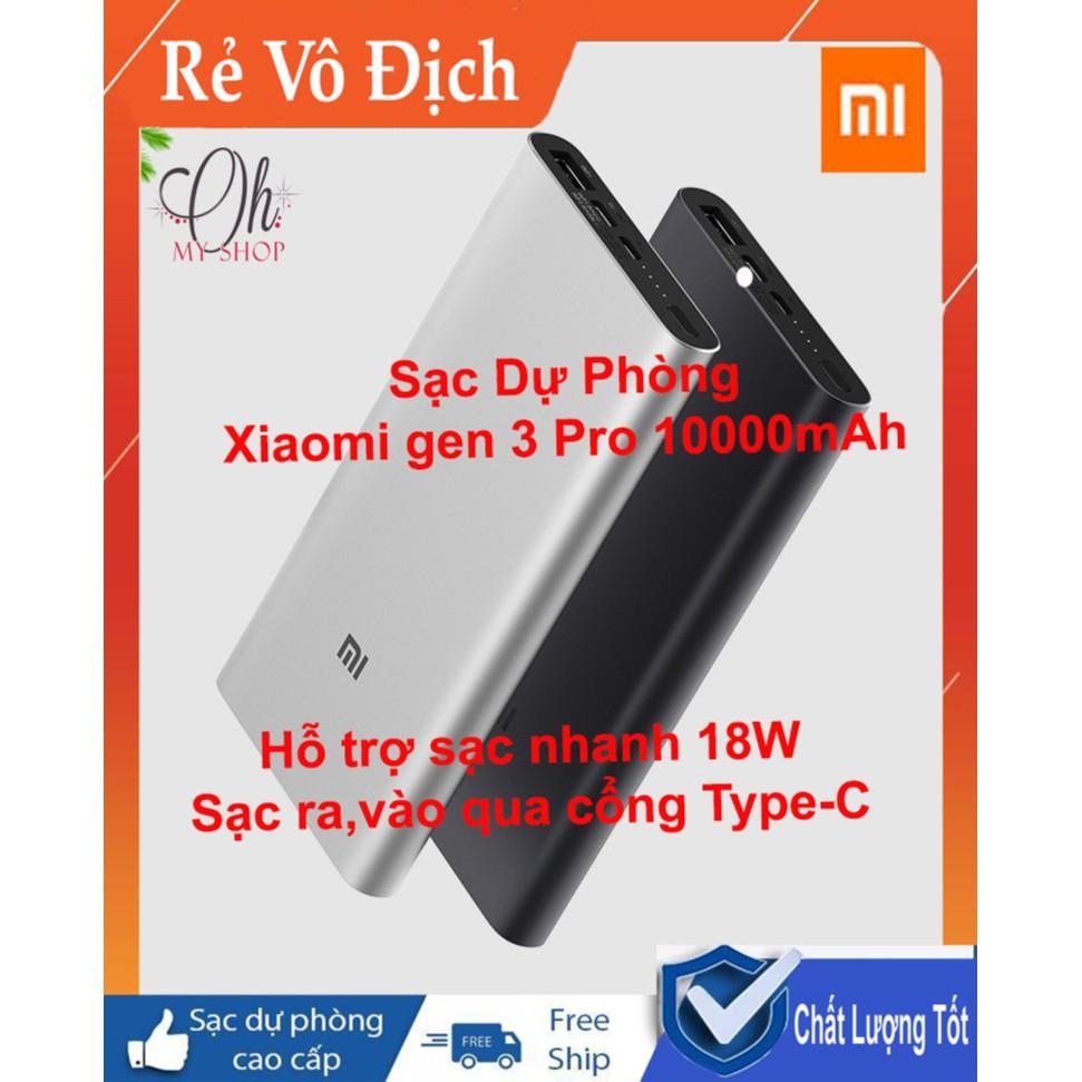 Sạc Dự Phòng - Sạc Dự Phòng Xiaomi Type- C gen 3 pro 10000mAh - Hỗ trợ sạc nhanh 18W Cả 2 Chiều- Bảo hành 6 tháng