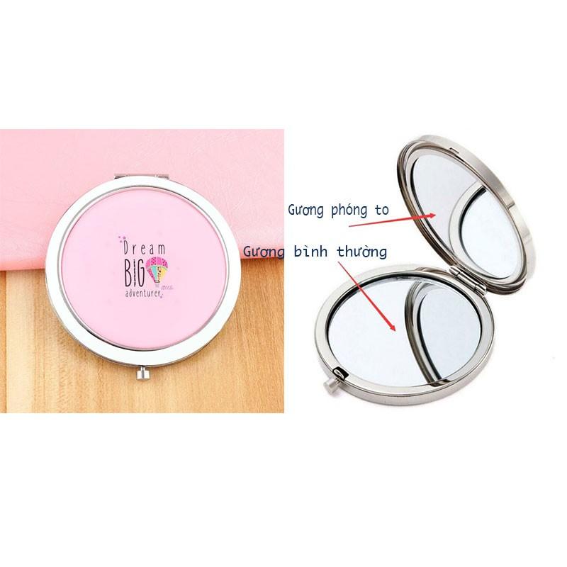 Gương soi cầm tay mini - Gương bỏ túi 2 mặt hình tròn phong cách Hàn Quốc siêu đáng yêu