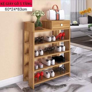 Kệ giày gỗ 5 tầng cao cấp, giá để giày dép đa năng