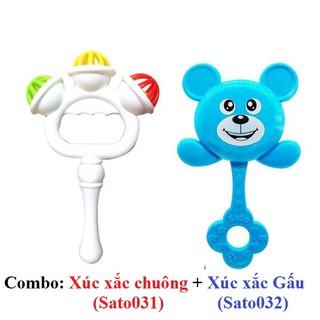Combo 2 XÚC XẮC cầm tay Sato hình chuông + hình gấu / LỤC LẠC cho bé