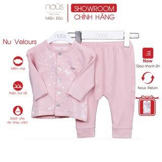 Bộ quần áo cài thẳng Nous Velours cáo hồng đào ( 0-12 tháng )