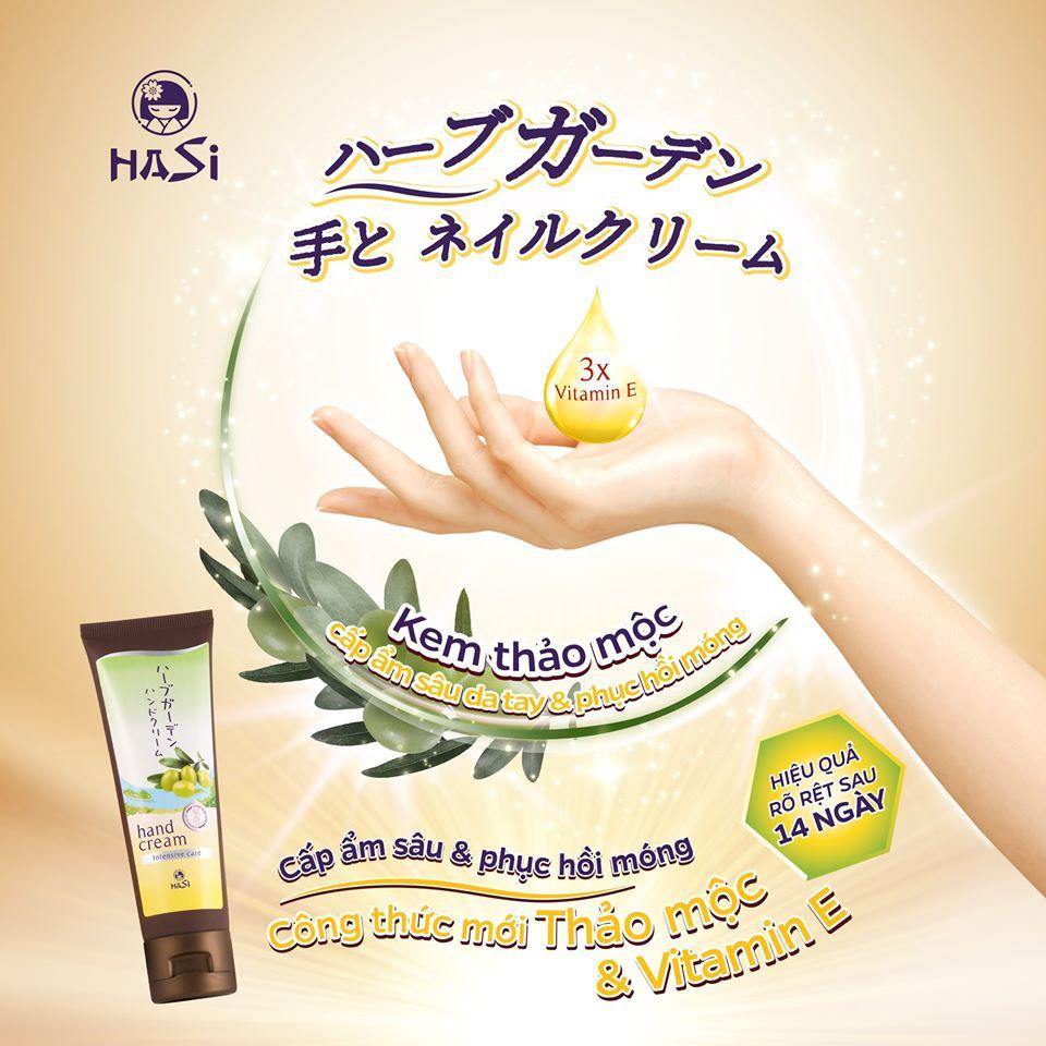 Kết quả hình ảnh cho Kem thảo mộc Hasi Habugaden cấp ẩm sâu da tay và phục hồi móng