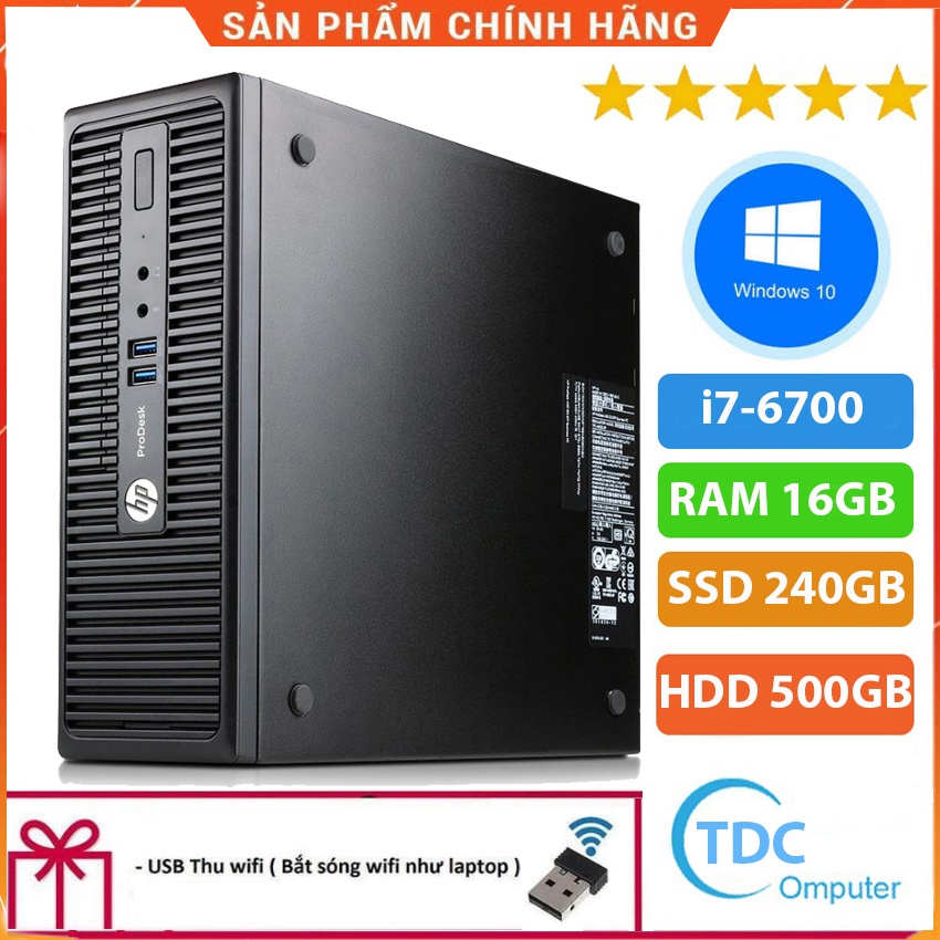 Case máy tính đồng bộ HP ProDesk 400G3 SFF, cpu core i7-6700, ram 16GB, SSD 240GB,HDD 500GB Tặng USB thu Wifi