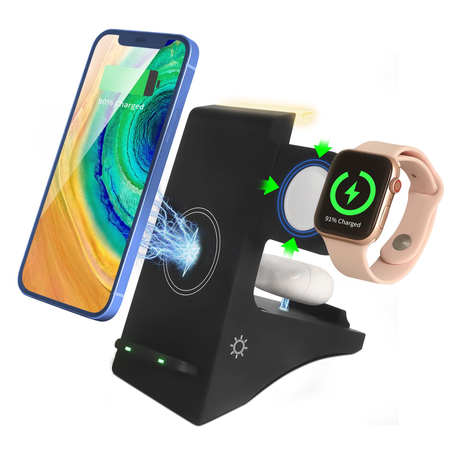 Bộ Sạc Không Dây 4 Trong 1 Cho Điện Thoại Apple Android, Apple Watch Bộ Sạc Không Dây Apple Airpods