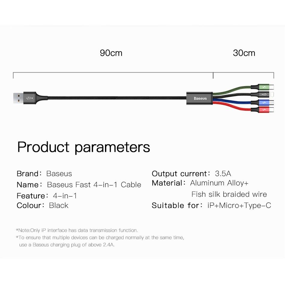 Cáp sạc 4 đầu ( 2 Lightning, 1 Micro Usb, 1 Type C ) Baseus Rapid Series