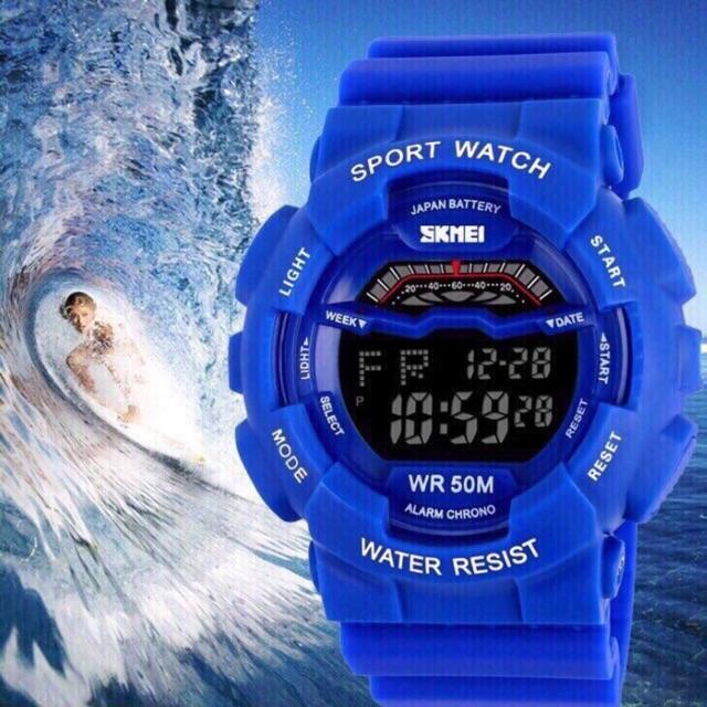 Đồng hồ thể thao unisex Skmei chính hãng L179480 dây cao su xanh so hot