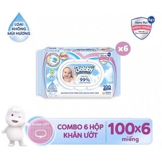 Combo 6 gói khăn ướt Bobby care nano bạc kháng khuẩn 100 tờ không mùi thumbnail