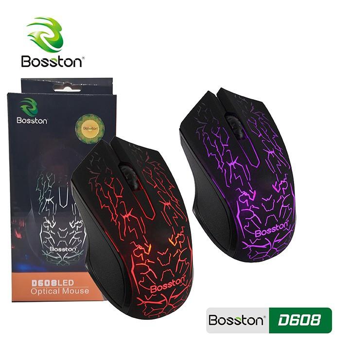 Chuột chơi game Bosston D608 có dây Led 7 Màu Chính hãng