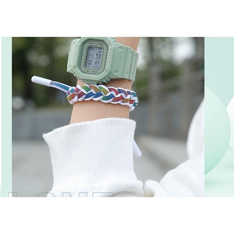 Đồng hồ thể thao nữ SPORT mặt chữ nhật dây cao su chống nước
