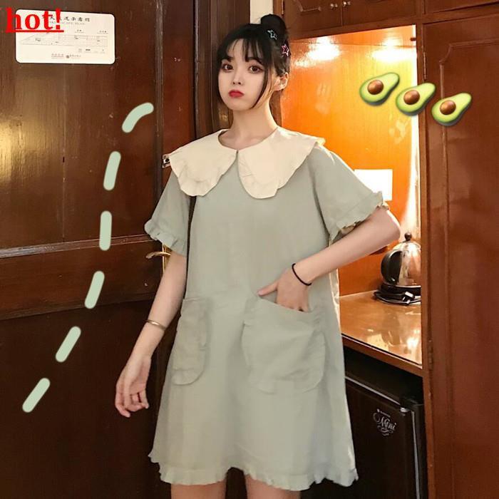 2019 summer new Korean version of the small fresh lotus leaf student dress women