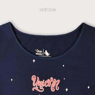 Đầm Hè Cho Bé Gái Miss Meow Tới Size Đại . Váy Cotton Thun Trẻ Em Bèo Gấu In Hình Ngựa Unicorn Màu Navy 3-11