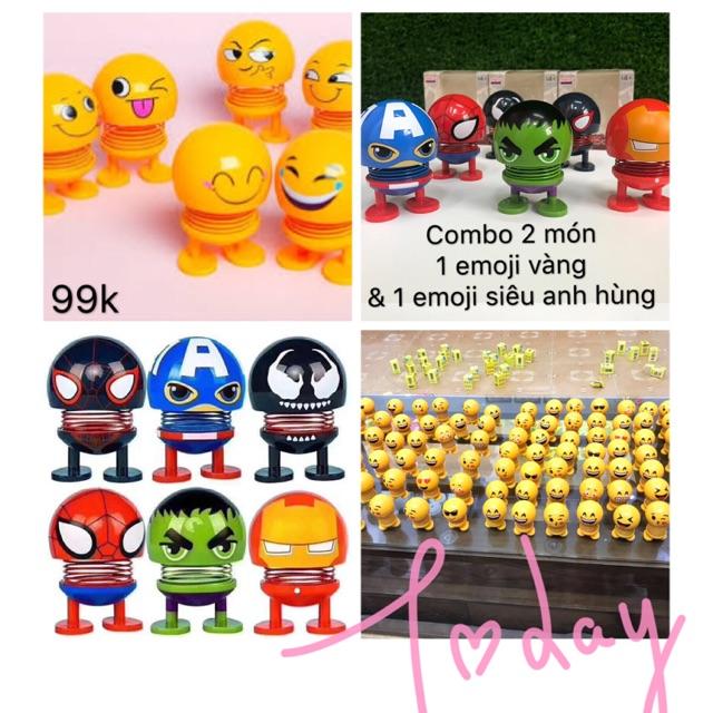 [Combo 2] Set 2 gồm 1 Thú nhún lò xo emoji vàng và 1 emoji biệt đội siêu anh hùng người nhện