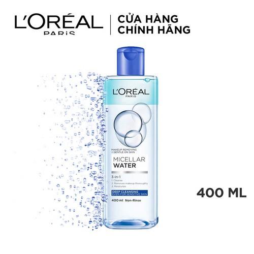 [Mã BEAUTY215 -10% đơn 199K] Nước tẩy trang cho mọi loại da L'Oreal Paris 3-in-1 Micellar Water 400ml