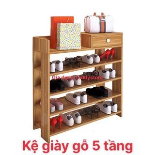 Tủ,kệ giày dép gỗ 5 tầng cao cấp có ngăn kéo 80x60x24cm