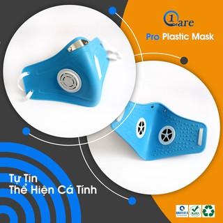 Khẩu trang nhựa đa năng 1Care Pro lọc bụi mịn PM5.0, kháng nước chống nắng 100%. Khẩu trang nhựa màu xanh pastel thumbnail