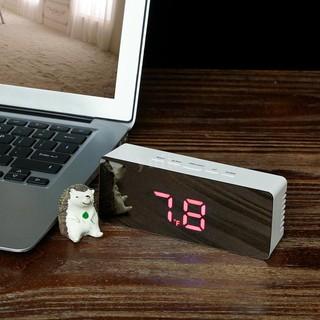 Đồng hồ báo thức mặt LED gương hiển thị nhiệt độ 12H/24H °C/°F đa năng