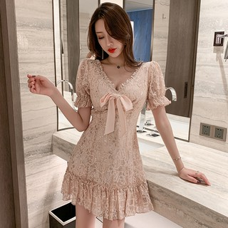 Temperament sexy V-neck lace bow sequined dress female 2020 summer small ruffled fairy skirt