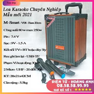 Loa kéo 2 tấc M-smart MS-V08, công suấ lớn, bass trầm ấm, âm thanh chuyên nghiệp, 2 micro