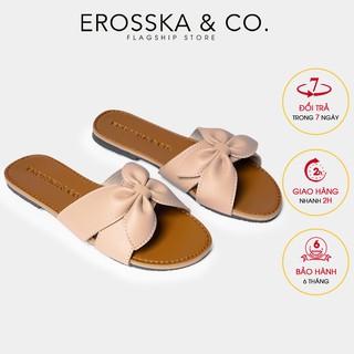 Dép đi biển thời trang Erosska 2021 đính nơ màu nude - DE027
