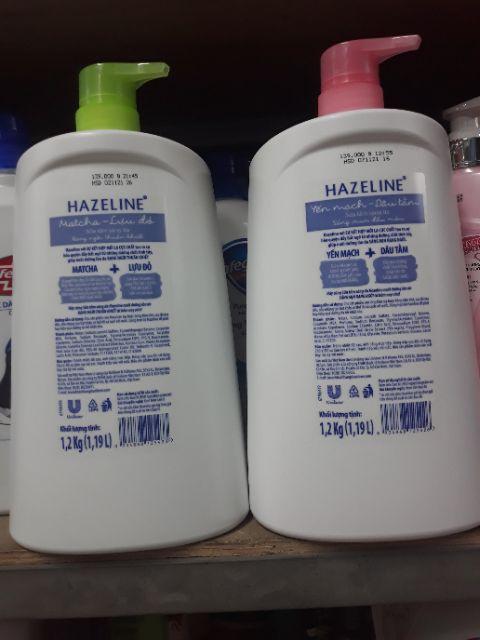 Sữa tắm Hazeline Matcha lựu đỏ hoặc sữa  tắm  Yến mạch - Dâu tằm. Khối lượng 1.2kg .