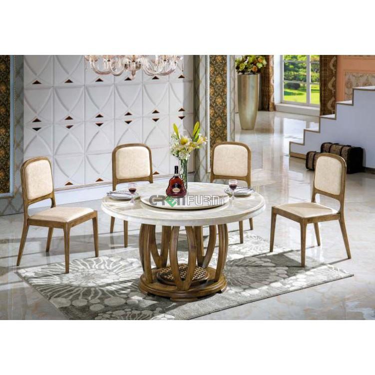 Bộ bàn ăn tròn gỗ sồi mặt đá nhập khẩu giá rẻ tại HCM GreenFurni TD-T079-13 Nội thất bếp và phòng ăn