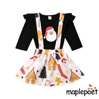 ☞❀❤♕GOAKid Baby Girl Christmas Santa Clothes Tops Suspender Skirt Dress Outfits Set