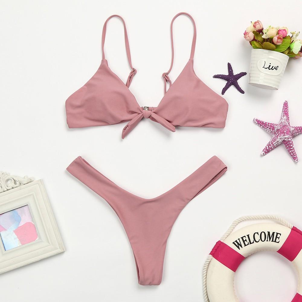 Bikini phối nơ màu trơn thiết kế quyến rũ cho phái nữ