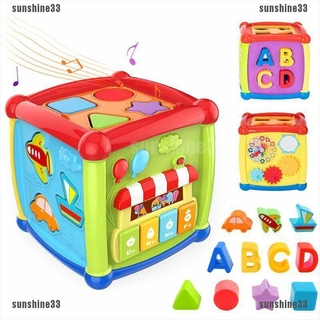 【sunshine33】Multifunctional Musical Toy Activity Block Box For Toddlers And Ba