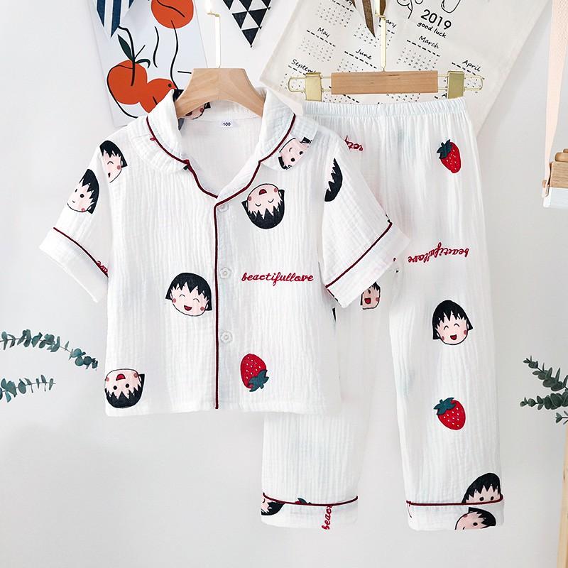 Bộ Pijama Cộc Tay Quần Dài Chất Đũi Xốp Bé Trai, Bé Gái, Họa Tiết Đáng Yêu, Đồ Bộ Trẻ Em Mặc Nhà Namkidshop (V458)