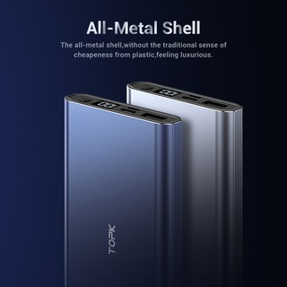Hình ảnh TOPK I1006 Sạc Dự Phòng Cho iPhone Huawei Samsung Xiaomi Oppo Vivo Realme Hai Cổng Dung Lượng 10000mAh Có Màn Hình Điện Tử-6
