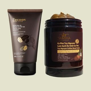 Bộ đôi Cà phê làm sạch da chết mặt Cocoon 150ml VÀ Tẩy da chết body cà phê Tabaha 250ml