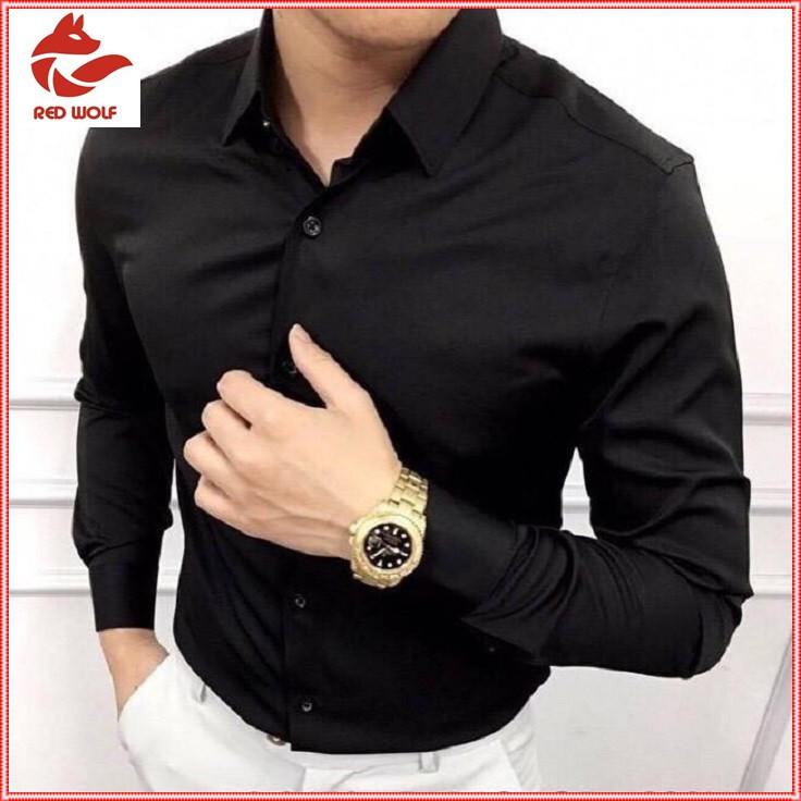 (CAM KẾT ẢNH THẬT) Áo sơ mi nam dài tay Hàn Quốc áo sơ mi đen vải lụa thái chống nhăn cao cấp