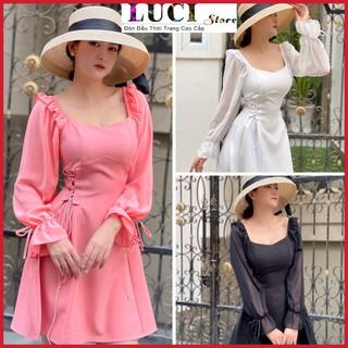 Đầm Xoè dự tiệc – even 3 màu mặc được nhiều kiểu eo đan dây xinh xắn – LUCI Store – Đ300