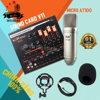 Bộ thu âm Livestreamn sound card V11 và micro AT100 loại 1 chuẩn
