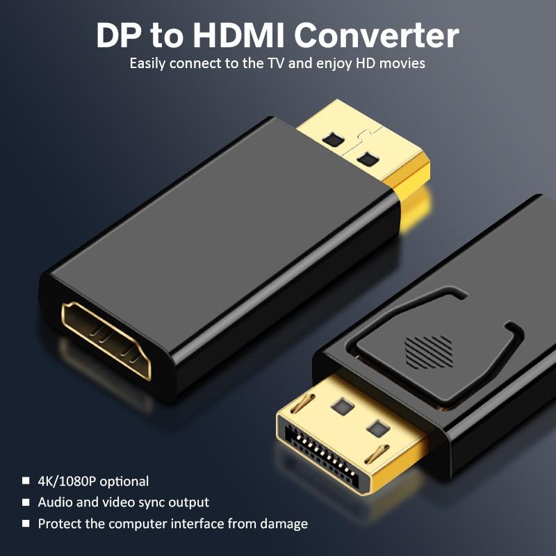 Cáp tương thích HdoorLink DP sang HDMI 4K 1080P Máy chiếu HDTV HD Video Audio Bộ chuyển đổi âm thanh từ Nam sang Nữ cho PC Macbook Samsung