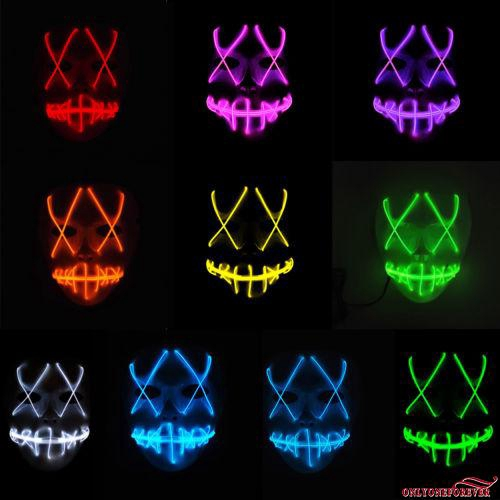 ❥Only➢Hot Halloween LED Light Mask Scary Smiling face Rave Purge Festival Cosplay Party