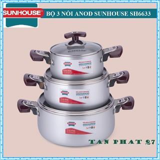 Bộ nồi ANOD sunhouse SH6633 (MÀU TRẮNG) có hình thật thumbnail