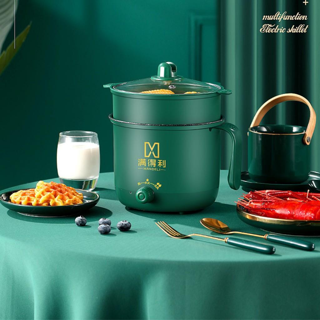 Nồi Lẩu Mini, Ca Nấu Mì Nấu Cơm Đa Năng Có Tay Cầm 1,8L - Nồi Lẩu Điện 2 Nấc Nhiệt Kèm Giá Hấp Siêu Hot