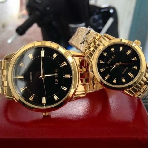 Đồng hồ đôi nam nữ Halei chống nước dây vàng đẹp đẽ