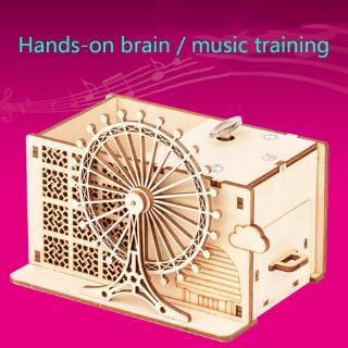 haha* 3D Wooden Puzzle DIY Model Self-assembly Handicraft Wheel Music Penholder Toy