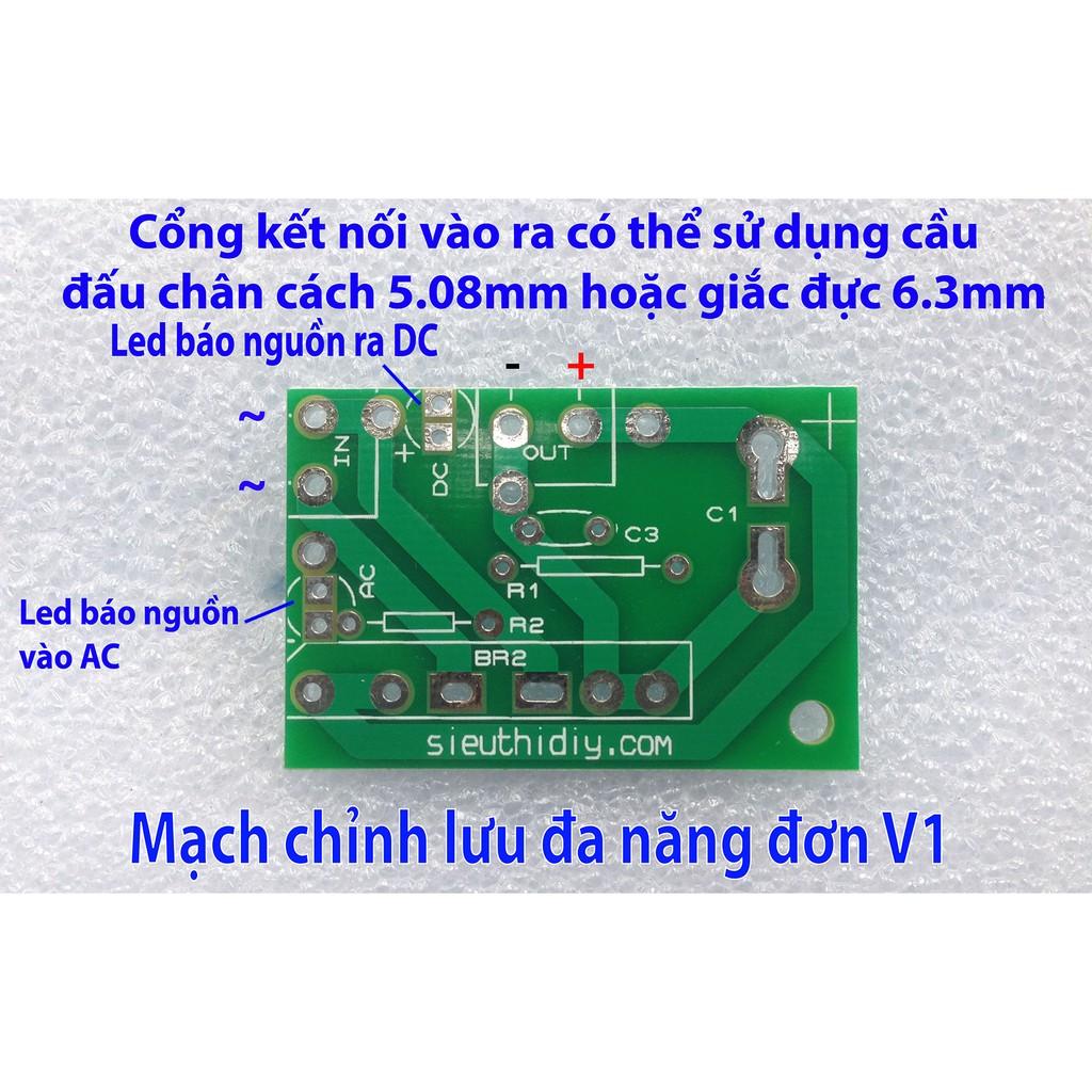Mạch chỉnh lưu nguồn đơn 2 nửa chu kỳ dùng cầu diode than V1 - 9936887 , 310533862 , 322_310533862 , 30000 , Mach-chinh-luu-nguon-don-2-nua-chu-ky-dung-cau-diode-than-V1-322_310533862 , shopee.vn , Mạch chỉnh lưu nguồn đơn 2 nửa chu kỳ dùng cầu diode than V1