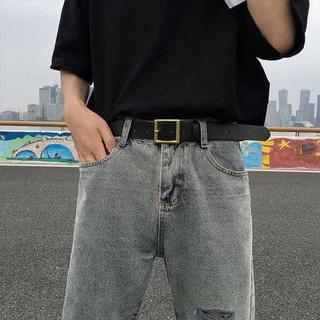 Nam và nữ với đai nam Học sinh Phiên bản Hàn Quốc của xu hướng Cá tính Belt Nam Wild Social Guys Jeans Băng thumbnail