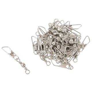 Grey Fishing Line to Hook Clip Swivels Connector 30PCS