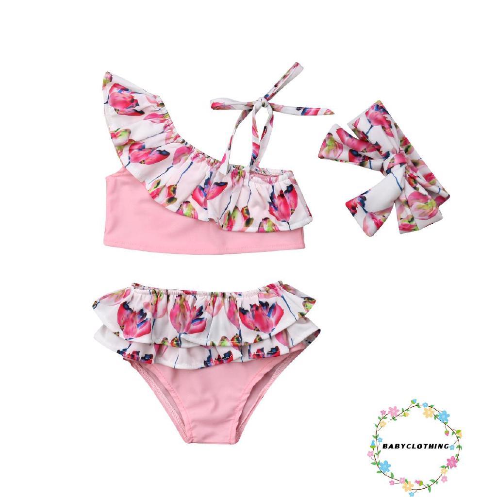 Bộ đồ bơi hai mảnh in hoa cho bé gái