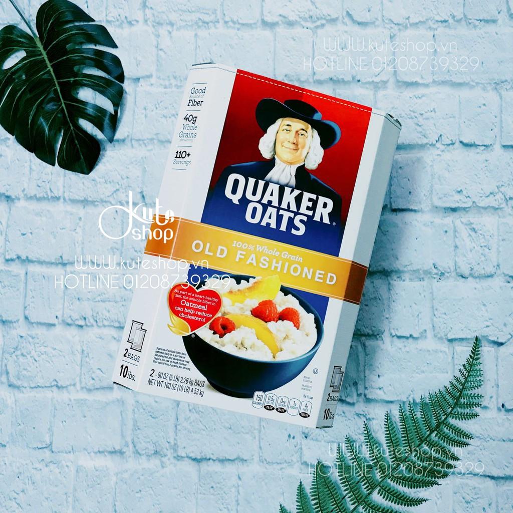 {HSD 07/2019} Yến mạch nguyên hạt cán dẹp Quaker Oats Old Fashioned nguyên thùng 4.5kg