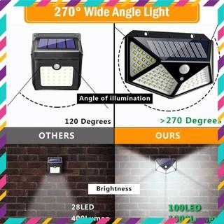 Đèn LED Năng Lượng Mặt Trời Chống Thấm Nước Cảm Biến Chuyển Động 100 Mắt LED Với 3 Chế Độ Siêu Sáng