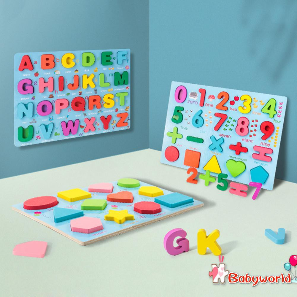 Children Wooden Toys Early Learning Jigsaw Letter Alphabet Shape Puzzles
