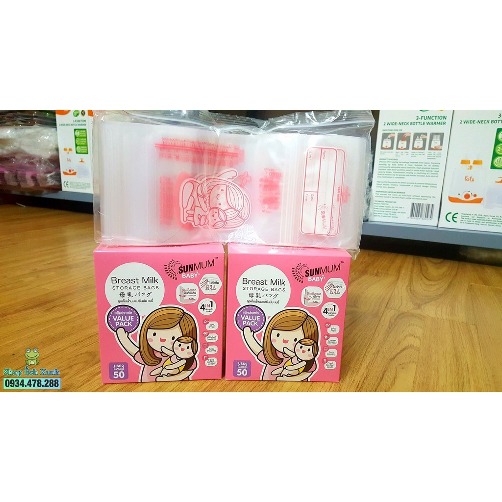 (RẺ VÔ ĐỊCH)Combo 50 túi túi trữ sữa sunmom hàng Thái